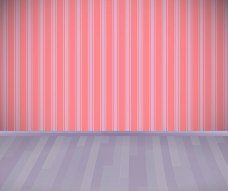 Background. Empty room with wooden grey floor or parquet and striped wallpaper.  Vector illustration.