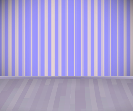 Background. Empty room with wooden floor or parquet and striped wallpaper.  Vector illustration. 일러스트