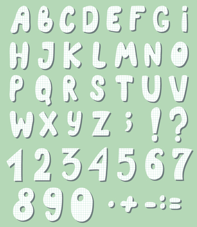 Cute letters and numbers are cut out checkered paper. Cartoon alphabet. Vector illustration.