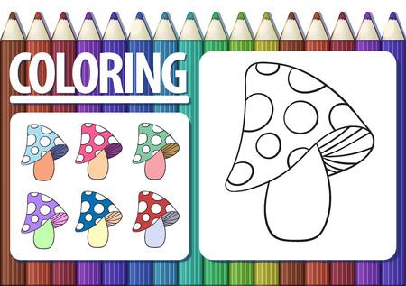 Pagina van kleurboek met cartoon paddestoel en gekleurde voorbeelden. Leuke veelkleurige achtergrond met potloden. Vector.