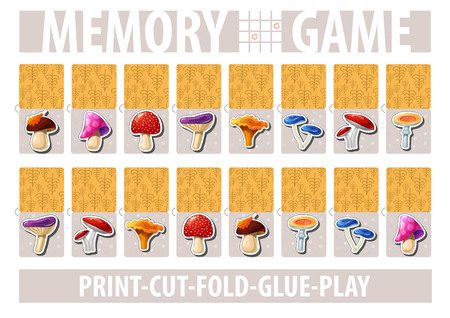 Set of cards for memory game with cartoon mushrooms. Print, cut, fold, glue, play. A4 proportion page. Album horizontal orientation. Vector.