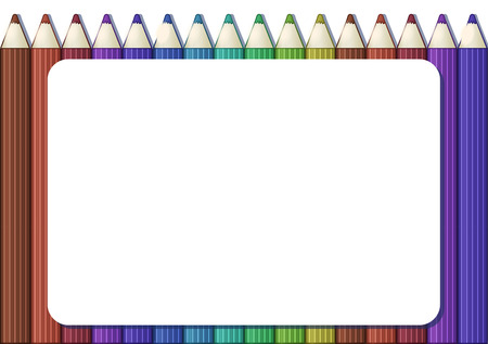 Blank white frame on background with set of cute cartoon colored pencils. Album horizontal orintation. Vector illustration.