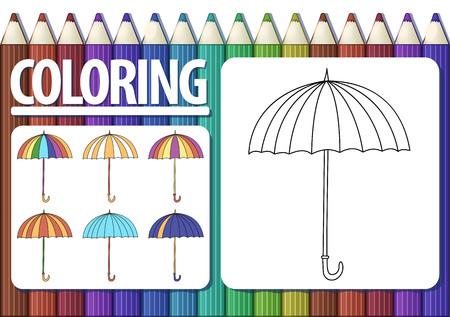 Pagina van kleurboek met cartoon paraplu en gekleurde voorbeelden. Leuke veelkleurige achtergrond met potloden. Vector.
