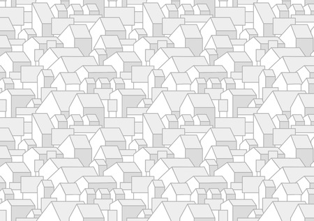 Pattern or background with cartoon houses with gable roofs. City, town, village landscape. Horizontal, album page. Printable. A4 proportions. Vector.