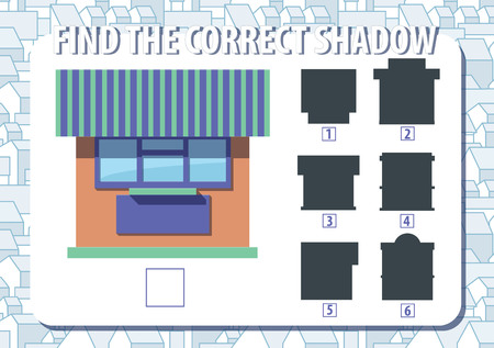 Game for kids. Find the correct shadow of kiosk. Horizontal, album orientation. Urban background with houses. Vector.  일러스트