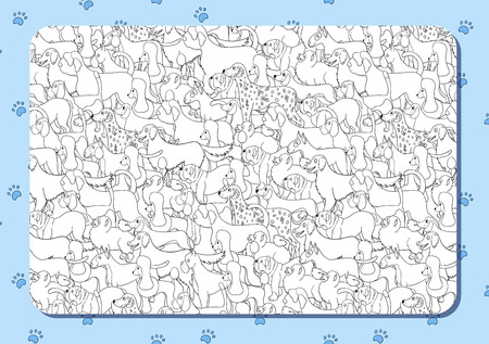 Coloring book with cute cartoon dogs. Different breeds. Background with paws. Horizontal album orientation. Vector.