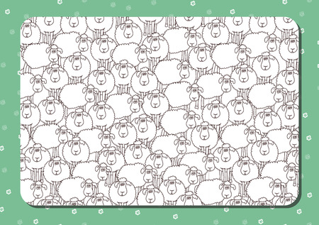 Coloring  book. Horizontal album page. Funny cartoon sheep. Cute background with flowers. Vector.