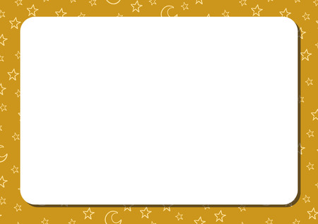 Template horizontal album page with white blank space for notes or drawing. Cute gold or yellow background with cartoon stars and crescents. Vector illustration.
