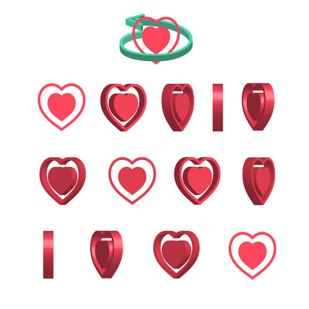 Sheet of sprites. Rotation of cartoon 3d heart. Isolated on white background. Vector illustration.