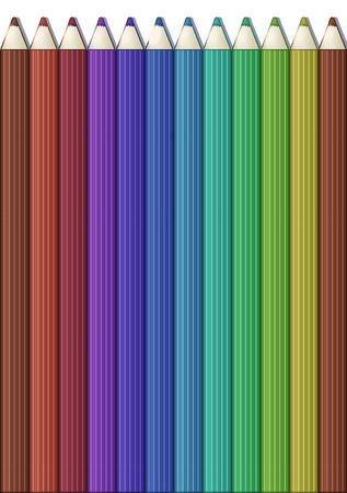 Vertical background with set of color pencils. Vector illustration. Portrait orientation.