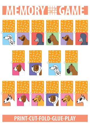 Memory card game with cartoon dogs. Different breeds. Print, cut, fold, glue, play. Vertical. A4 page proportions. Vector illustration.