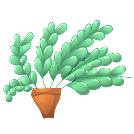 Cute cartoon colored plant in simple pot. Long branches with small green leaves and brown pot.