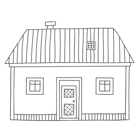 Cute cartoon contour house or cottage Isolated on white background. Vector illustration.  Can be used for coloring books. Stock Illustratie