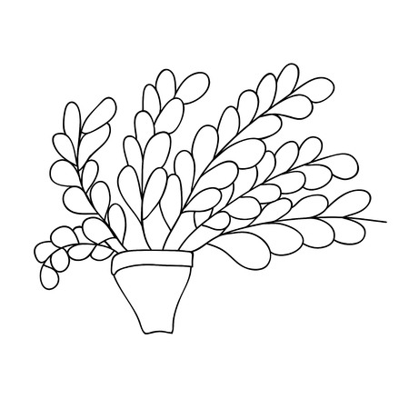 Cute cartoon plant in simple pot. Long branches with small leaves. Isolated on white background. Vector illustration.  Can be used for coloring books.