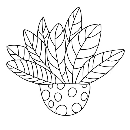 Cute cartoon plant in pot with dots. Big beautiful leaves. Isolated on white background. Vector illustration.  Can be used for coloring books.