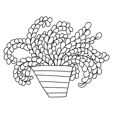Cute cartoon plant in striped pot. Long branches with small leaves. Isolated on white background. Vector illustration.  Can be used for coloring books.