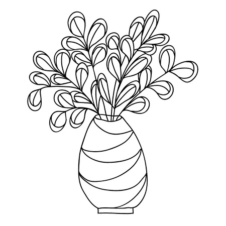 Cute cartoon plant in vase. Isolated on white background. Vector illustration.  Can be used for coloring books.