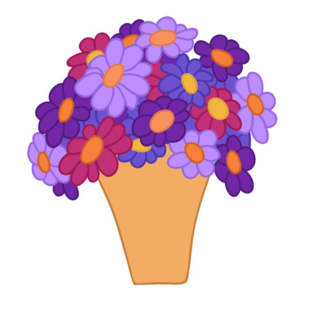 Cartoon violet and red flowers in simple yellow pot. Vector illustration isolated on white background.