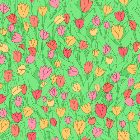 Seamless pattern with cute cartoon colored flowers, tulips. Good for pattern fills, surface design, textile, fabric, manufacturing, wrapping paper, backdrops, wallpapers and covers. Vector illustration.