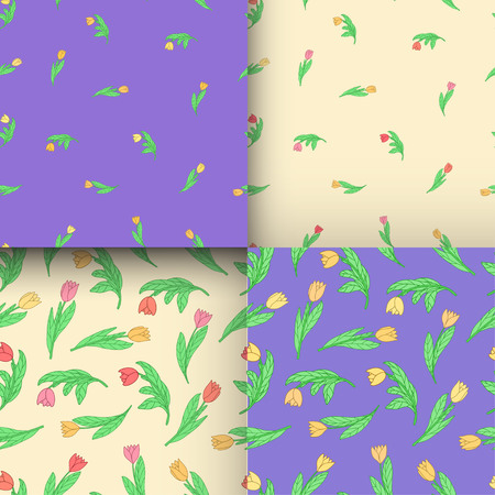 Set of seamless pattern with cute cartoon colored flowers, tulips on yellow and violet background. Good for pattern fills, surface design, textile, fabric, manufacturing, wrapping paper, backdrops, wallpapers and covers. Vector illustration.