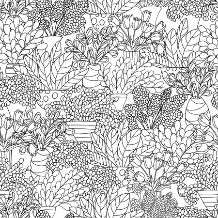 Seamless pattern with cute cartoon plants and flowers in pots. White background. Good for pattern fills, surface design, textile, fabric, manufacturing, wrapping paper, backdrops, wallpapers and covers. Vector contour illustration.