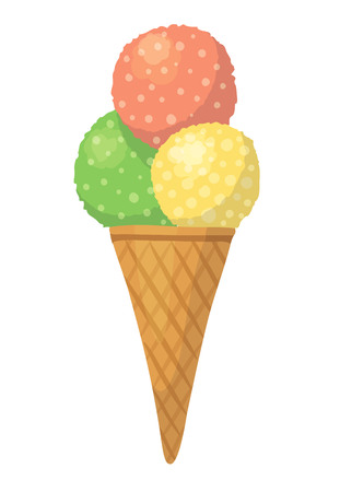Cute vector cartoon illustration with colorful ice-cream isolated on white background. Three balls in wafer cone. Red, yellow, green.