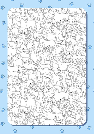 Coloring book with cute cartoon dogs. Different breeds. Background with paws. Vertical portrait  orientation. Vector. Standard-Bild - 102811074