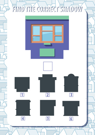 Game for kids. Find the correct shadow of kiosk. Vertical, portrait orientation. Urban background with houses. Vector.