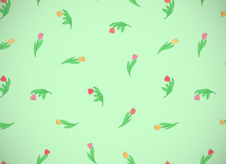 Horizontal card with cute cartoon colored flowers, tulips on green background. Good for pattern fills, surface design, textile, fabric, manufacturing, wrapping paper, backdrops, wallpapers and covers. Vector illustration.