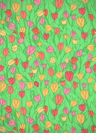 Vertical card with cute cartoon colored flowers, tulips. Good for pattern fills, surface design, textile, fabric, manufacturing, wrapping paper, backdrops, wallpapers and covers. Vector illustration. Illustration