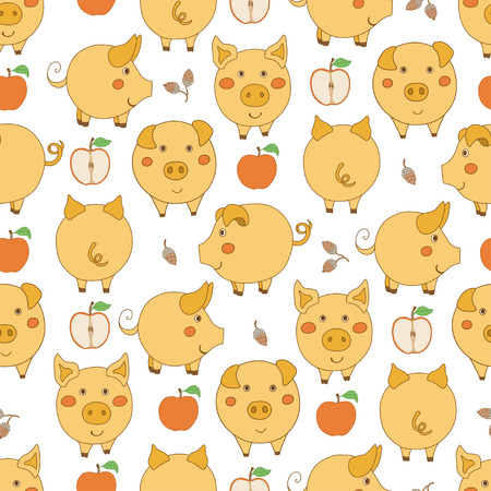 Seamless pattern with cartoon yellow pigs, red apples and acorns on white background. Vector illustration.