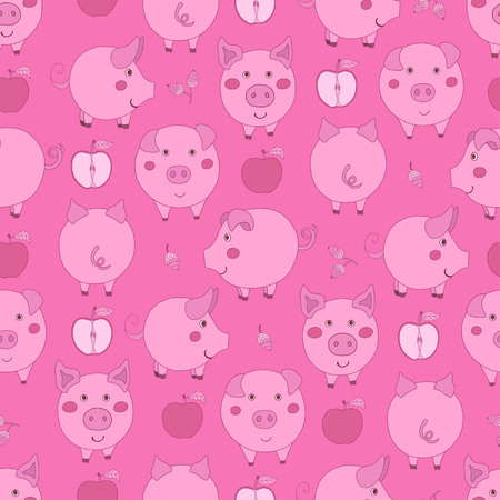 Seamless pattern with cartoon pink pigs, apples and acorns on dark pink background. Vector illustration. Illustration