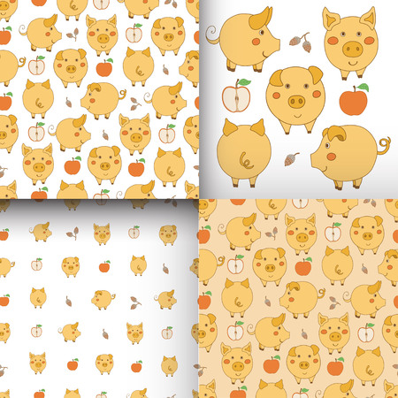 Set of seamless yellow-white patterns with pigs, apples and acorns. Vector illustration.