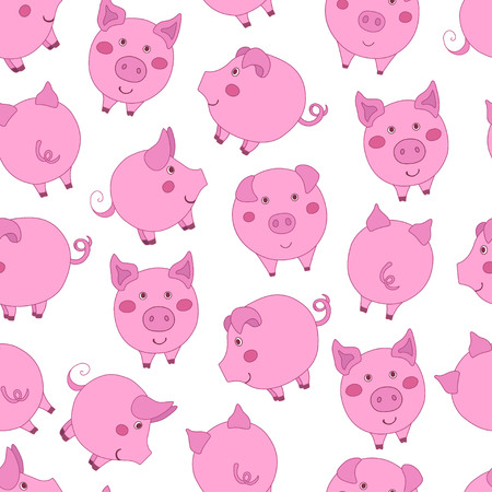 Seamless pattern with cute cartoon pink pigs on white background. Vector illustration.