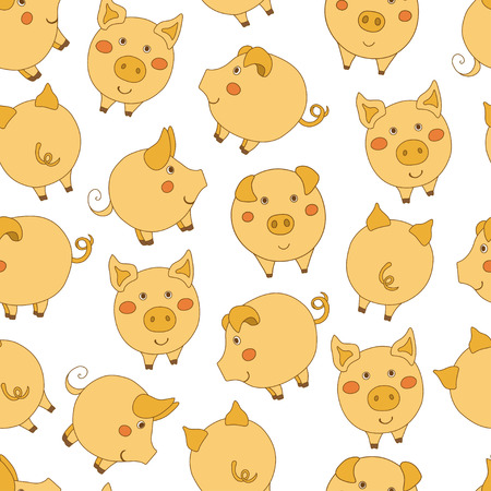 Seamless pattern with cute cartoon yellow pigs on white background. Vector illustration.