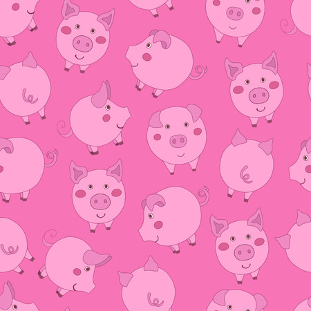 Seamless pattern with cute cartoon pink pigs on dark pink background. Vector illustration.