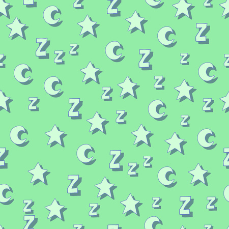 Flat stars, moons and z with shadows on green background. Can be used for wallpaper, web page backgrounds, wrapping paper, scrap booking and textile or fabric. Vector illustration. EPS 10. Ilustração