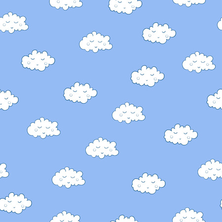 Unusual seamless pattern with cute sleeping clouds. Good night! For textile, fabric, bedroom interiors: wallpaper, pillow, blanket, pajamas. Good for restful sleep. Ilustração