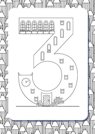 Cartoon number 3 drawn in the shape of house. Isolated on white. Vertical portrait page for coloring book. Vector illustration. Cute background with pencils. English abc. Building font. Architectural type. Latin alphabet.