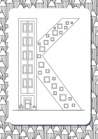 Cartoon letter K drawn in the shape of house. Isolated on white. Vertical portrait page for coloring book. Vector illustration. Cute background with pencils. English abc. Building font. Architectural type. Latin alphabet.