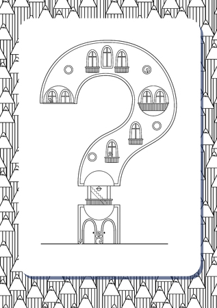 Cartoon question mark drawn in the shape of house. Isolated on white. Vertical portrait page for coloring book. Vector illustration. Cute background with pencils. English abc. Building font. Architectural type. Latin alphabet.