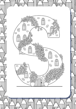 Cartoon letter S drawn in the shape of house. Isolated on white. Vertical portrait page for coloring book. Vector illustration. Cute background with pencils. English abc. Building font. Architectural type. Latin alphabet.