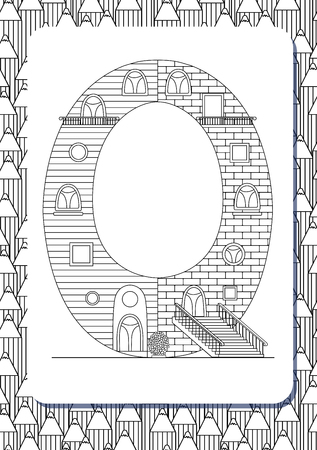 Cartoon letter Q drawn in the shape of house. Isolated on white. Vertical portrait page for coloring book. Vector illustration. Cute background with pencils. English abc. Building font. Architectural type. Latin alphabet.