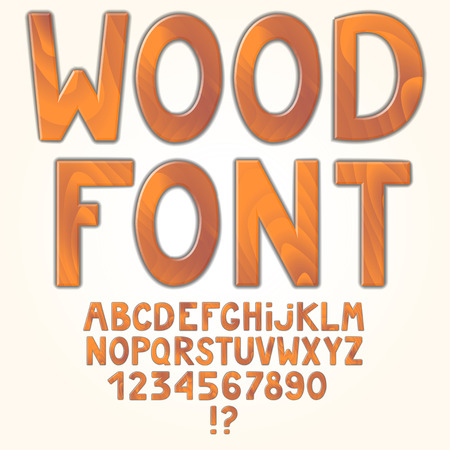 Awesome wooden alphabet isolated on white background. Vector illustration. Letters and numbers. Stock Illustratie