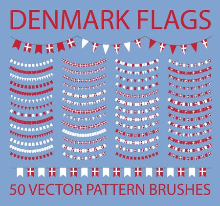 Set of 50 vector pattern brushes. Outer, inner corners and start, end tiles included. Garland of danish flags. Denmark. White, red.