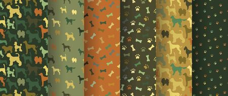 Set of seamless patterns with cartoon dogs Иллюстрация