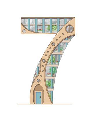 Number 7 house isolated on white background. Vertical portrait A4 page. Printable.