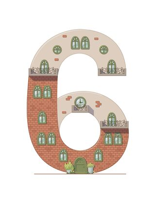 Number 6 house isolated on white background. Vertical portrait A4 page. Printable.