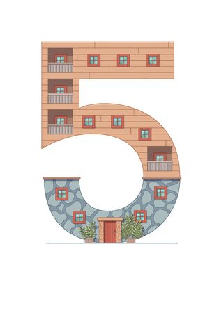 Number 5 house isolated on white background. Vertical portrait A4 page. Printable. Иллюстрация