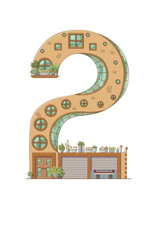 Number 2 house isolated on white background. Vertical portrait A4 page. Printable.